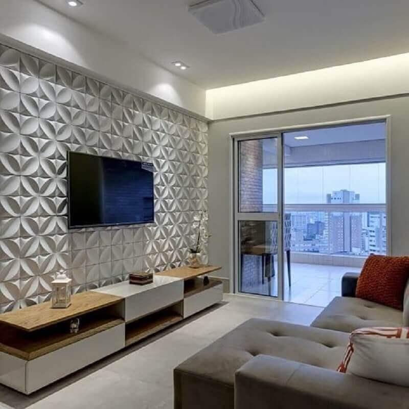 Papel de parede para sala 3D branco.