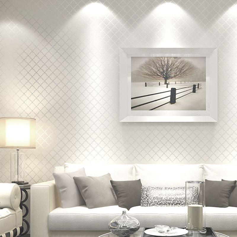 Papel de parede para sala branco e luxuoso.