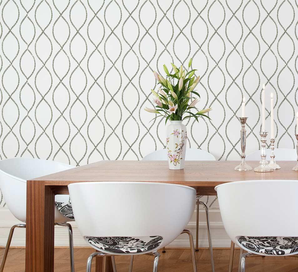 Papel de parede para sala de jantar branco.