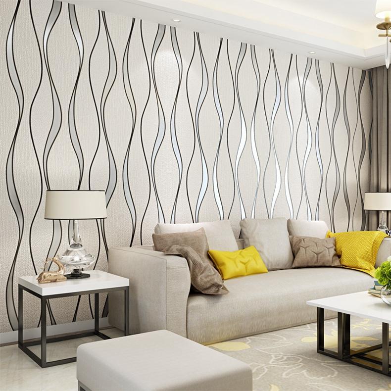 Papel de parede para sala moderno e prateado.