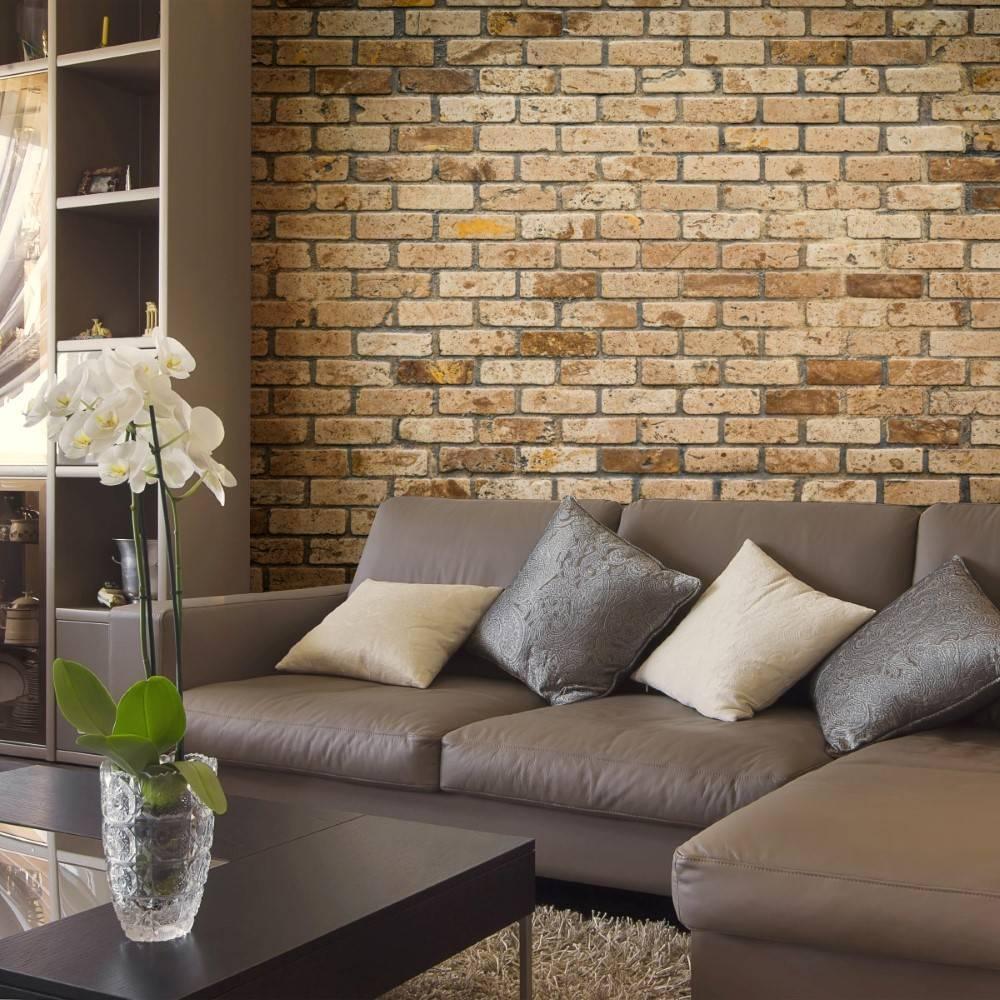 Papel de parede para sala rústico com tijolinho.