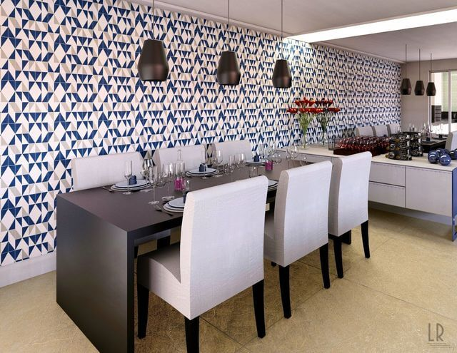 Papel de parede para sala de jantar com estampa geométrica.
