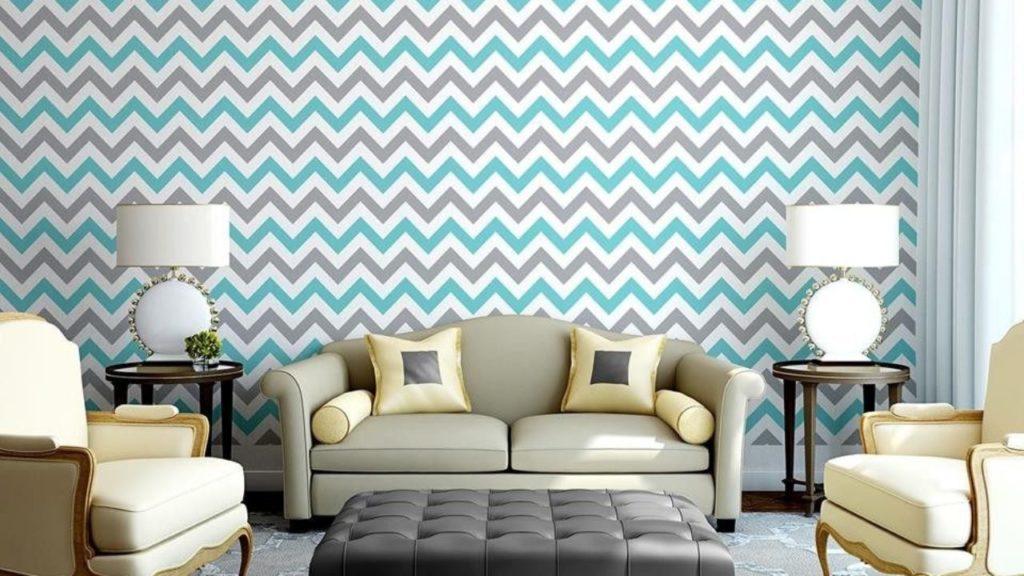Papel de parede para sala com estampa em zigue-zague.