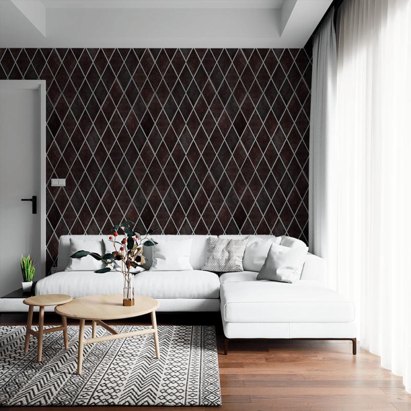 Papel de parede para sala de estar com estampa escura.