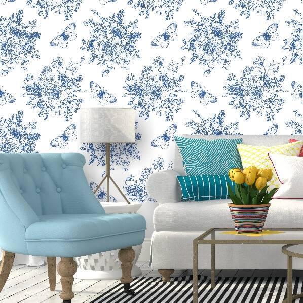 Papel de parede para sala tradicional azul.