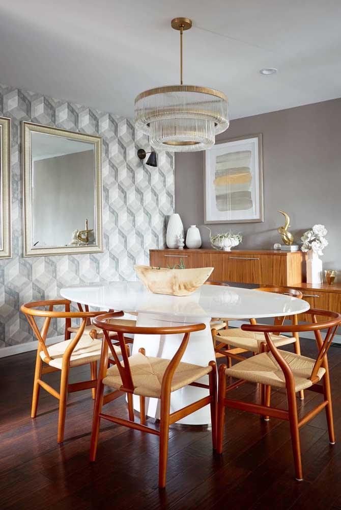 Papel de parede para sala de jantar 3D.