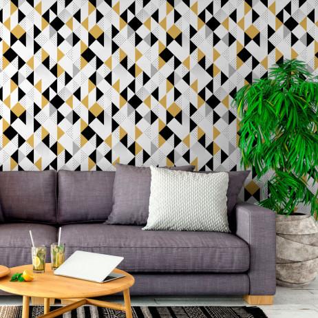 Papel de parede para sala com estampa geométrica moderna.
