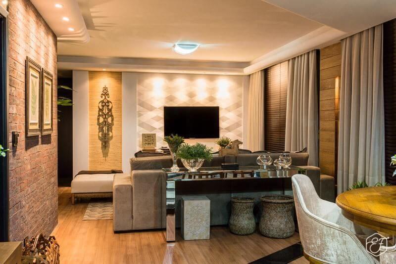 Papel de parede para sala neutra e luxuosa.