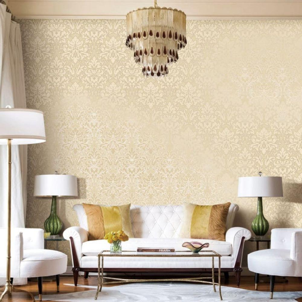 Papel de parede para sala luxuosa com lustre.