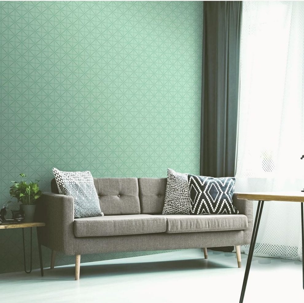 Papel de parede para sala verde.