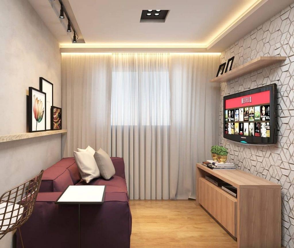 Decoração para cômodo pequeno e parede 3D.