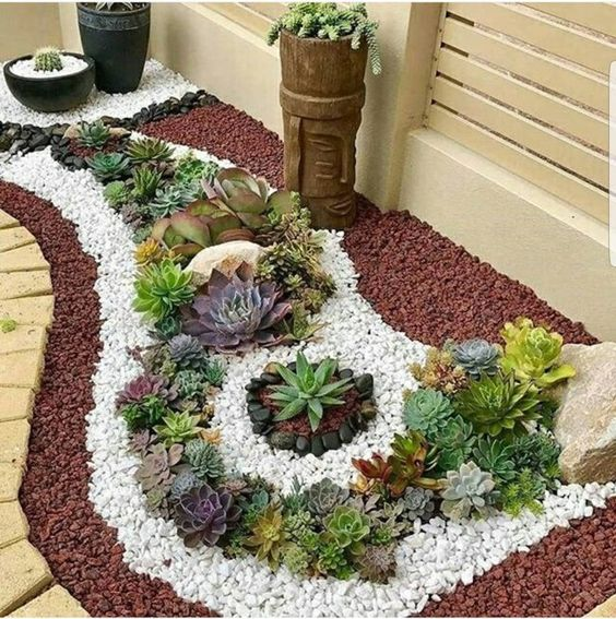 Plantas para jardim decoradas com pedras coloridas.