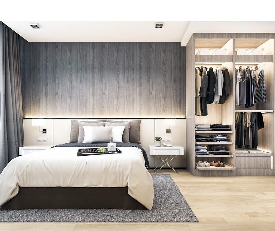 Quarto com closet aberto e moderno.