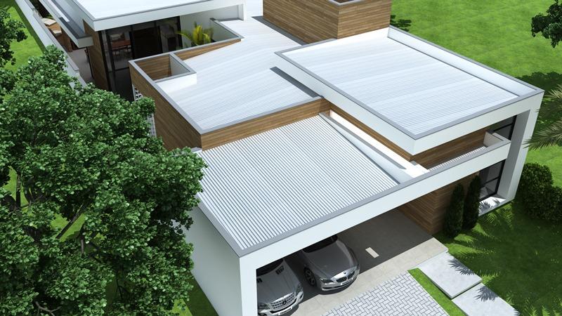 Casa moderna com telhado embutido.