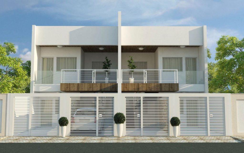 Conjunto habitacional com casas com telhado embutido.