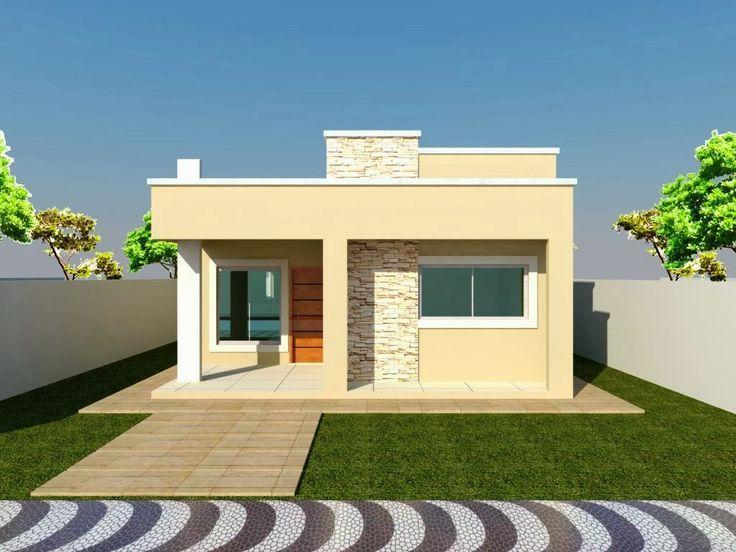Casa pequena e quadrada com telhado embutido.