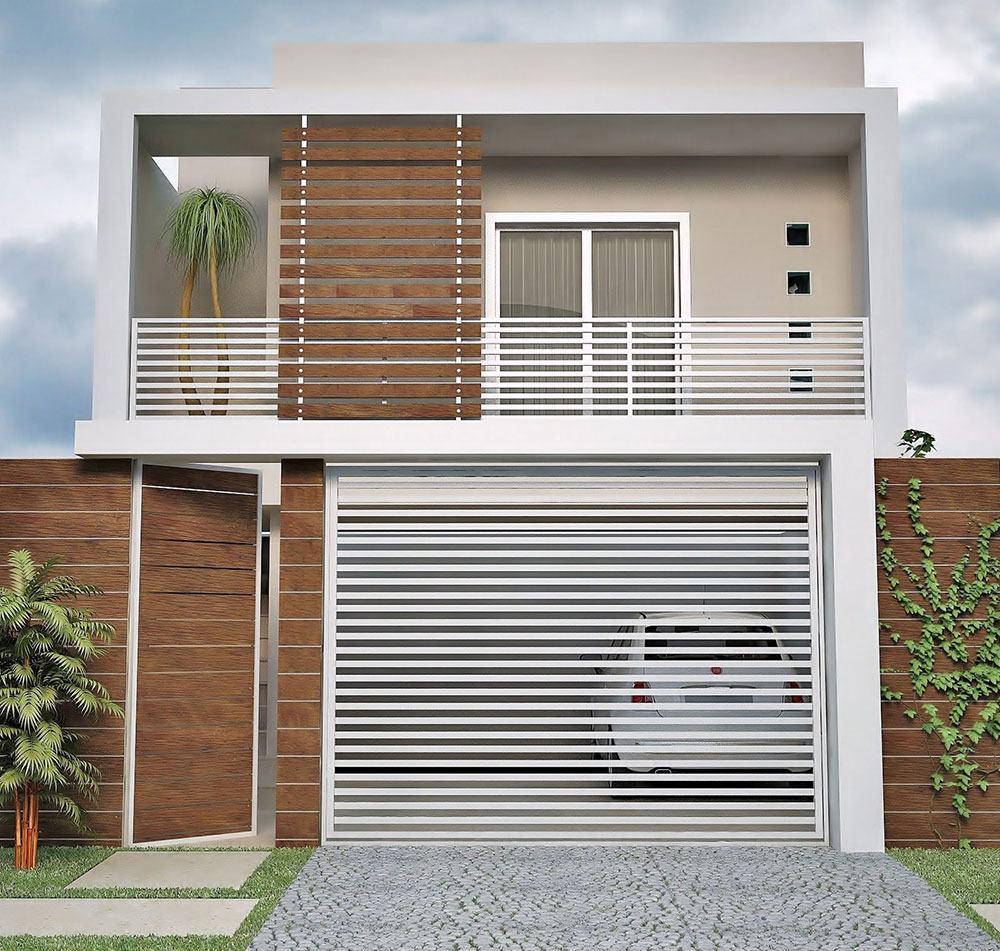 Casa de dois andares com varanda e telhado embutido.