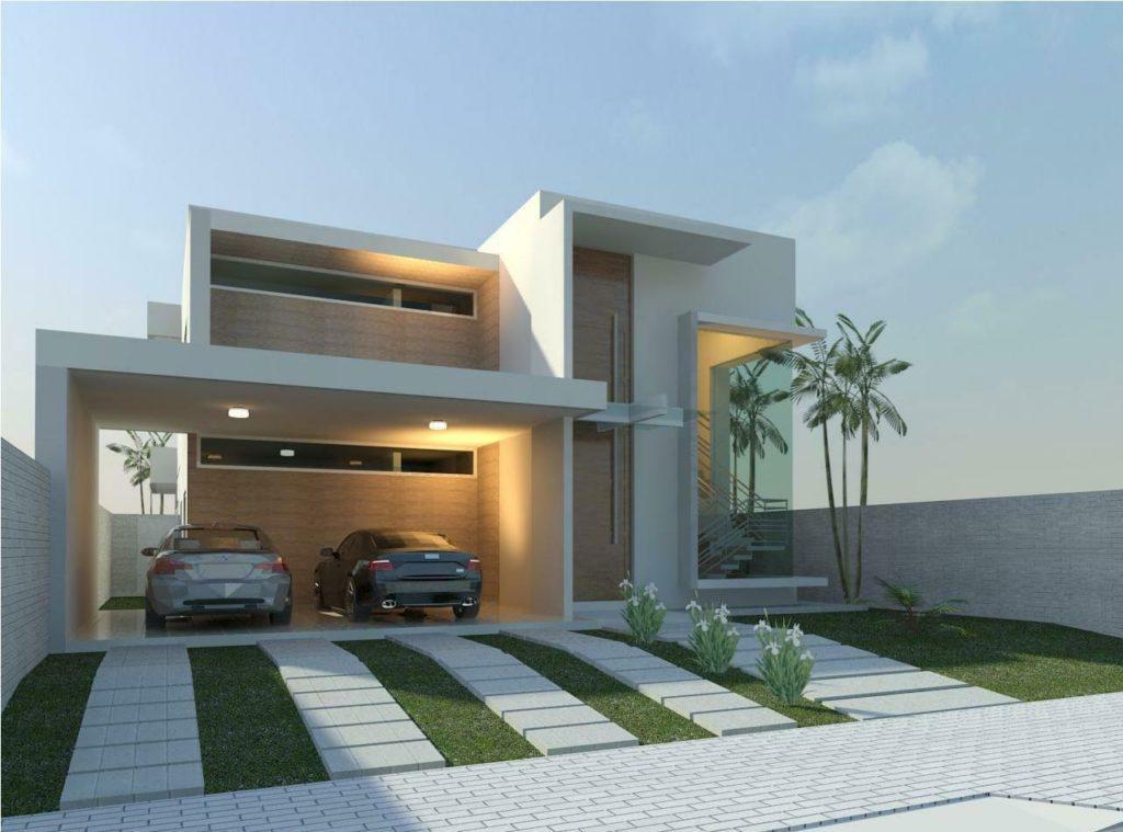 Casa moderna com dois andares e projeto quadrado.