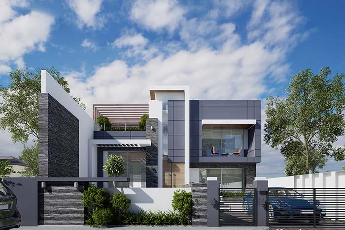 Casa luxuosa com revestimento cinza e telhado embutido.