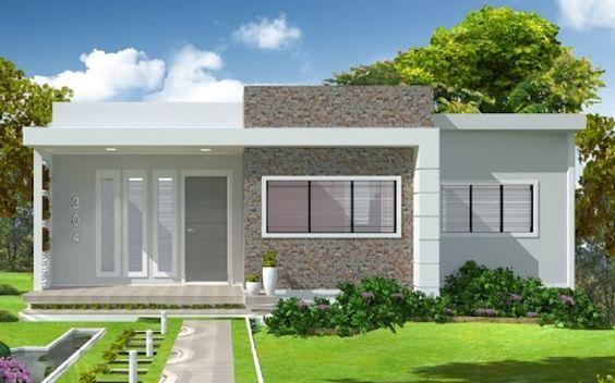 Casa térrea pequena e simples com telhado embutido.