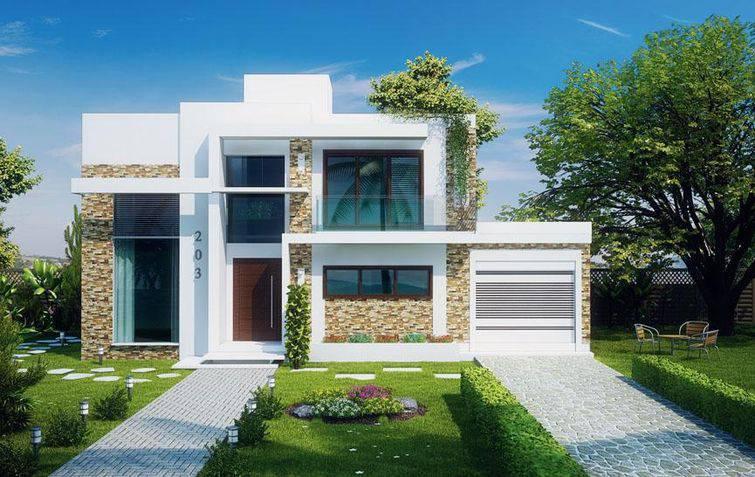 Casa com dois andares e revestimento de pedra.