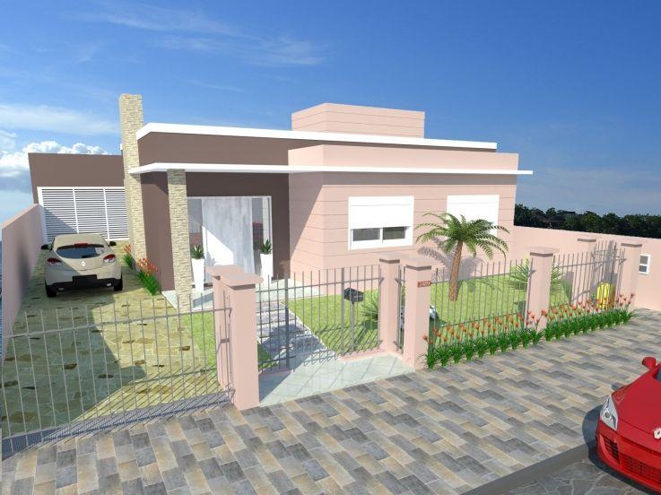 Casa simples rosa com telhado embutido.