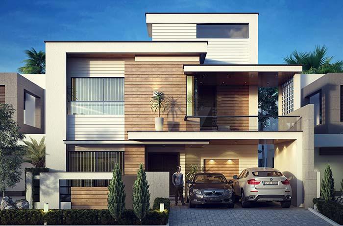 Fachada de casa moderna com revestimento de madeira e telhado embutido.