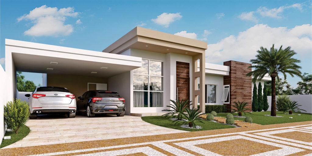 Casa térrea moderna com garagem aberta e telhado embutido.