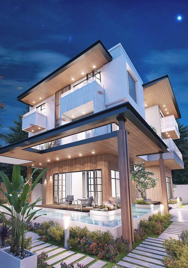 Construção luxuosa com forro de madeira e telhado embutido.