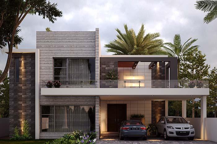 Fachada de casa com revestimento que imita a madeira.