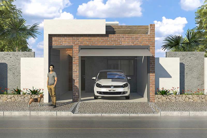 Fachada de casa pequena com revestimento de tijolinho aparente e telhado embutido.