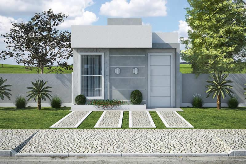 Construção pequena e quadrada com telhado embutido.