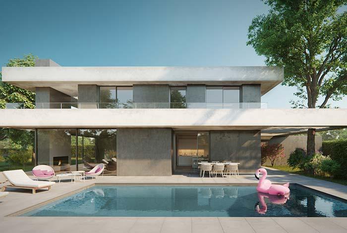 Casa moderna com piscina.