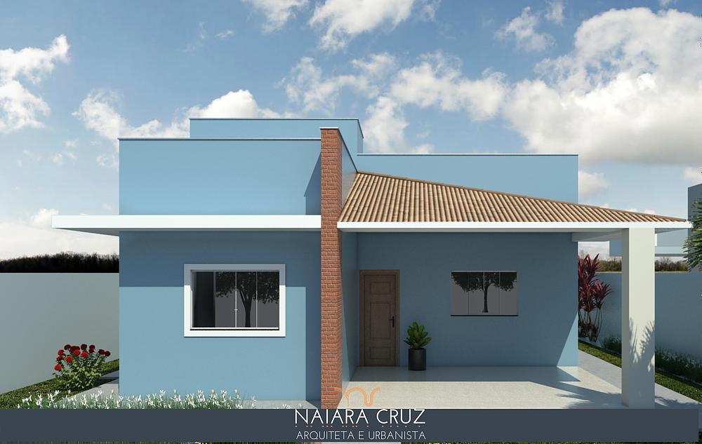 Casa pequena simples com telhado embutido.