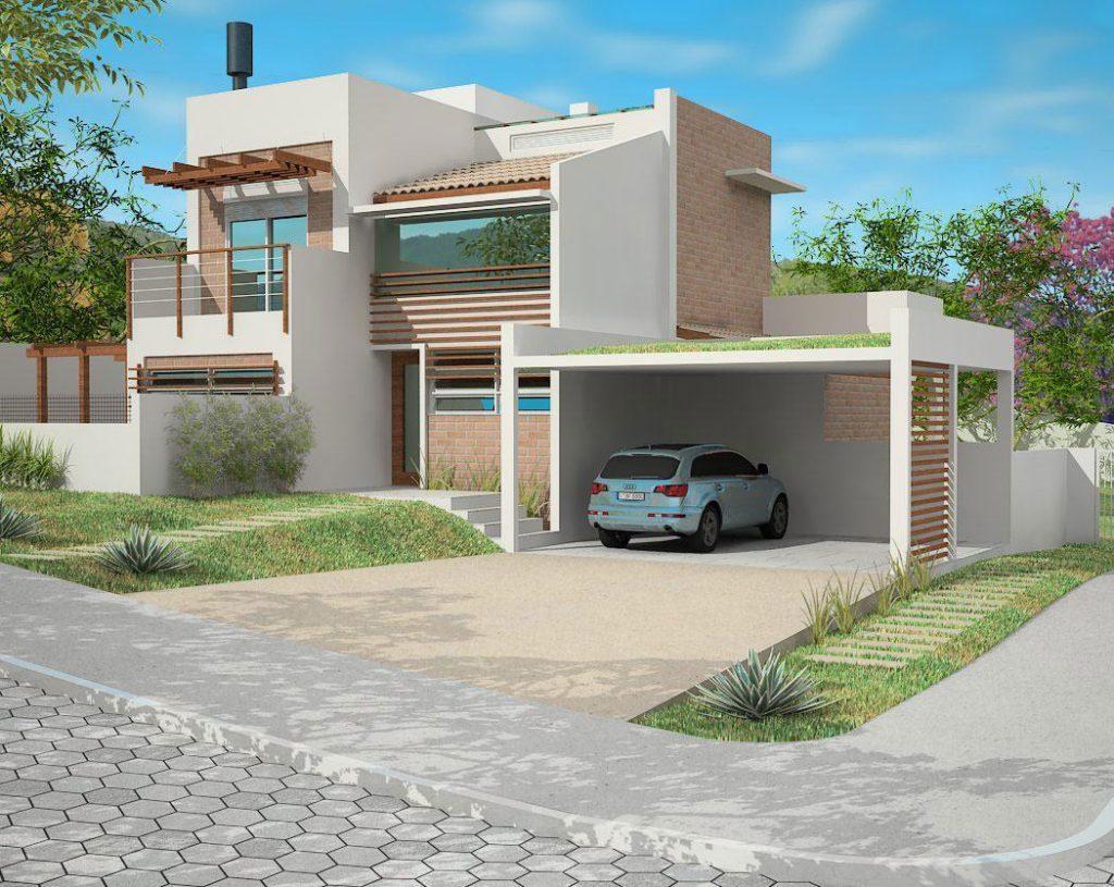 Fachada de casa moderna com dois andares e detalhes com pergolados.