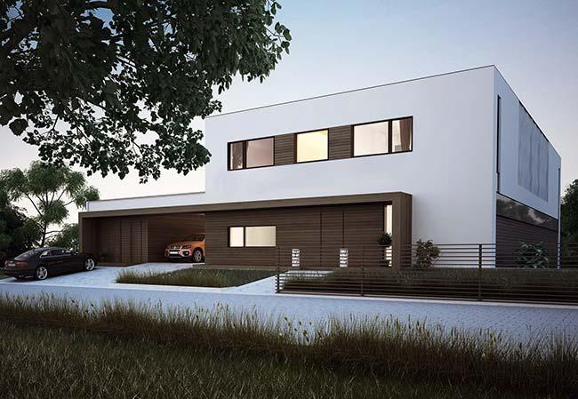 Fachado de casa moderna com dois andares.