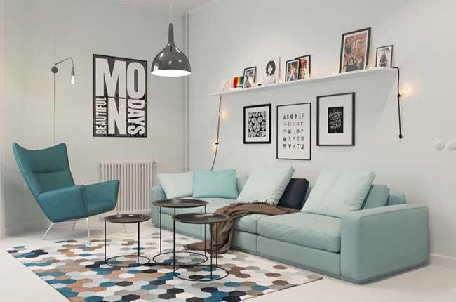 Sala minimalista com sala azul tiffany.