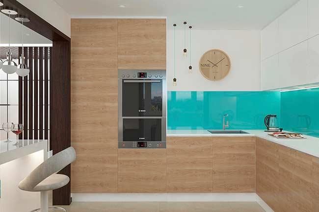 Cozinha moderna com revestimento azul tiffany.