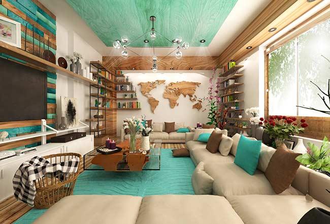 Sala de tv moderna com decoração neutra e azul tiffany