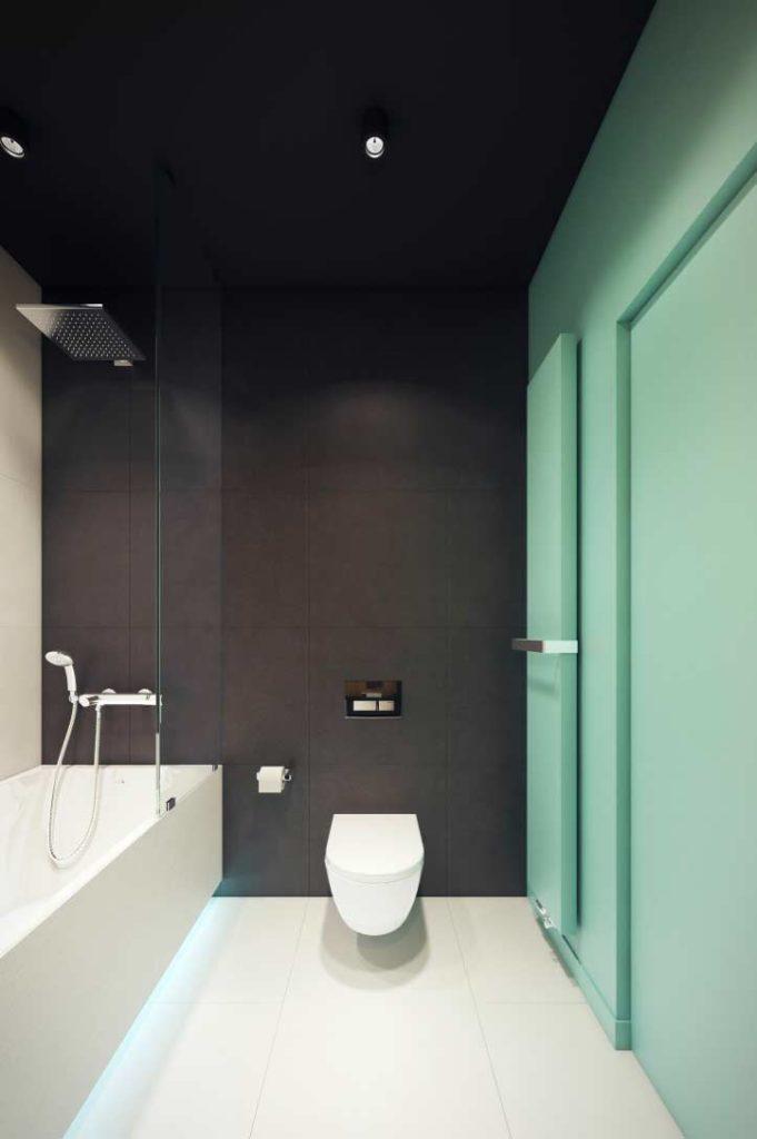 Banheiro moderno com azulejo preto.