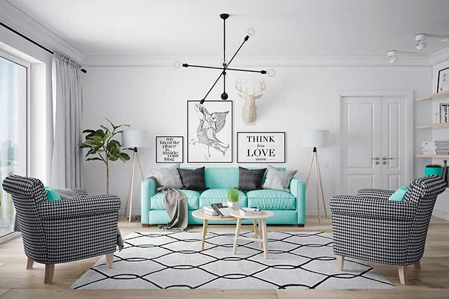 Sala com decoração tumblr e poltronas preto e branco.