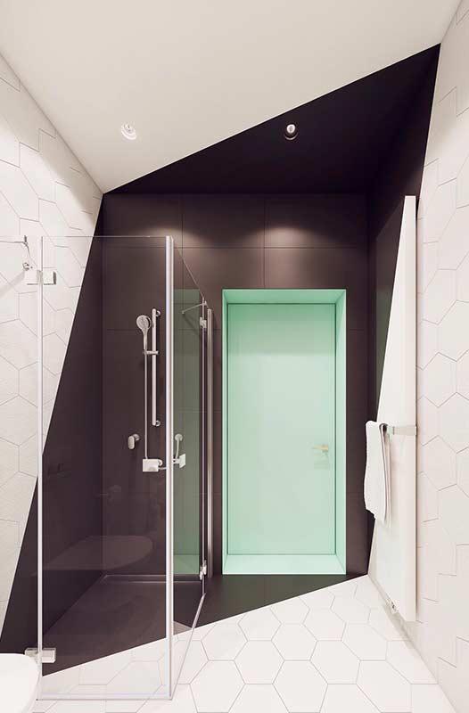 Banheiro moderno com decoração preta e branca.