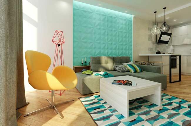Sala moderna com poltrona amarela e sofá em L.