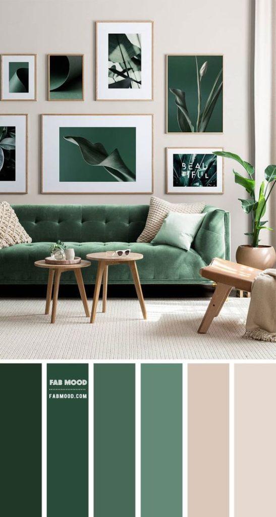 Sala elegante com decoração verde.