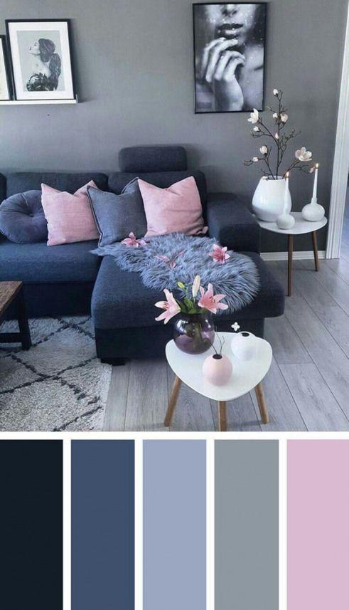 Sala tumblr com decoração cinza e rosa.