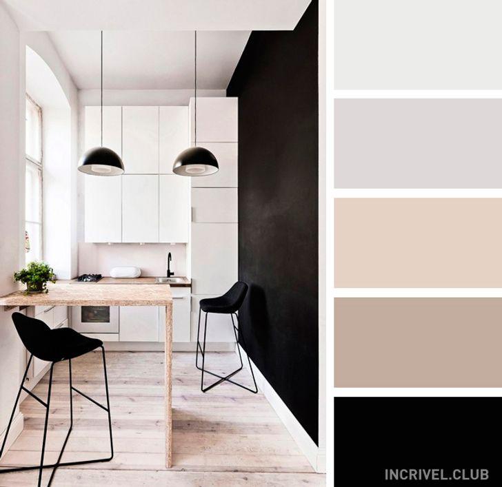 Cozinha minimalista preta e branca.