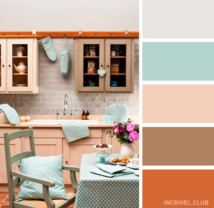 Cozinha romântica rosa clara.