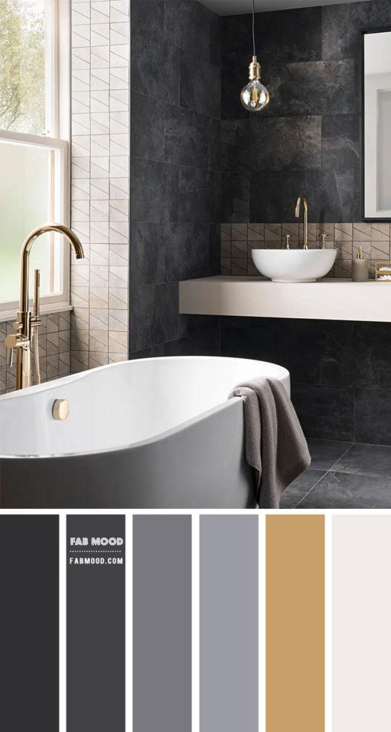 Banheiro luxuoso com revestimento de ardósia.