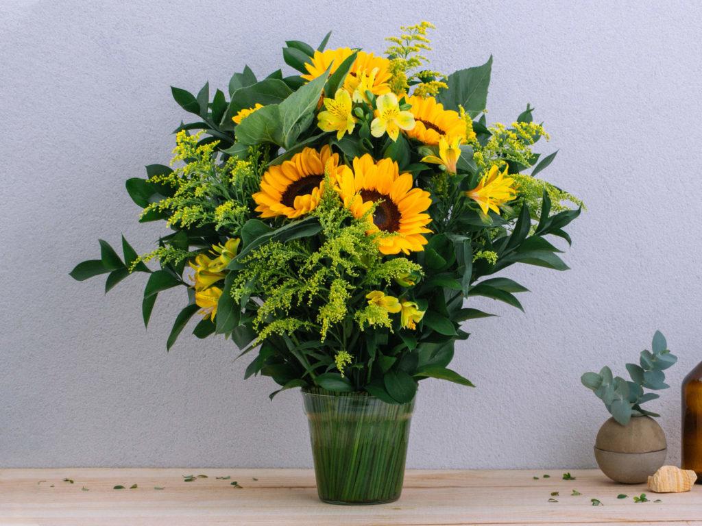 Vaso de plantas com girassol.