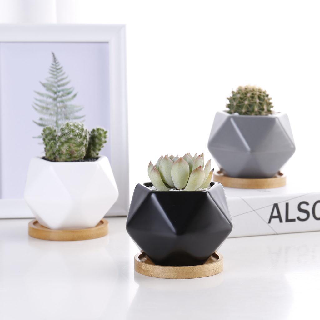 Vasos de cerâmica pequenos e modernos.